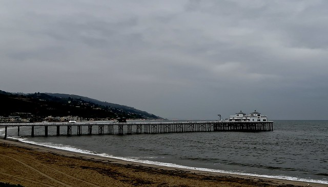 malibu pier on a rainy monday