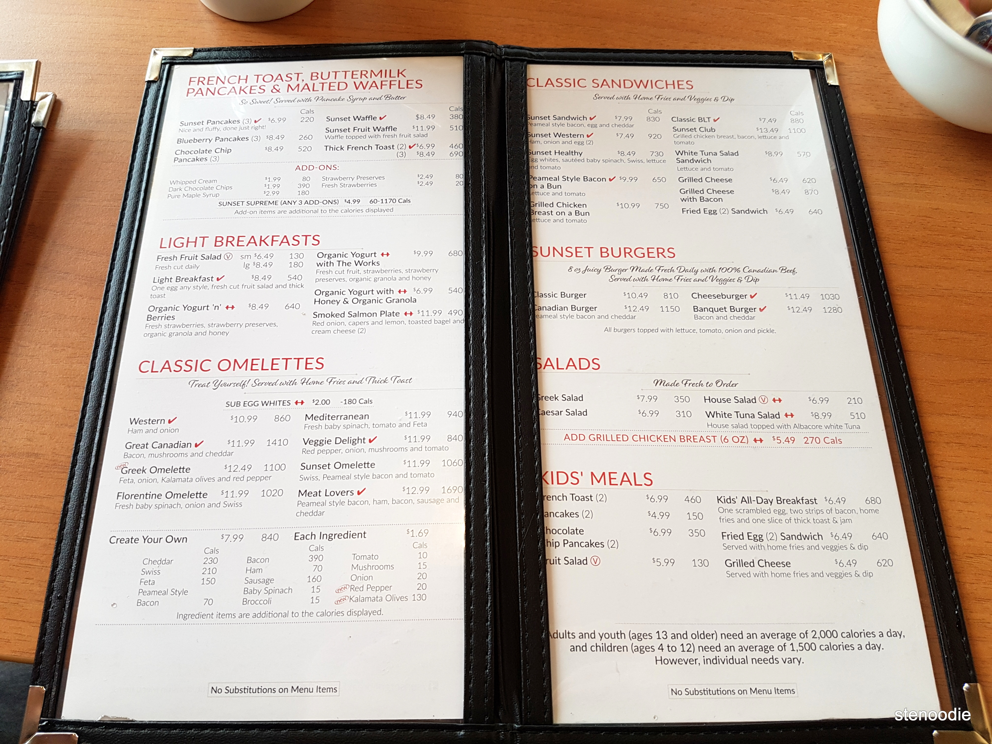 Sunset Grill Markham menu and prices