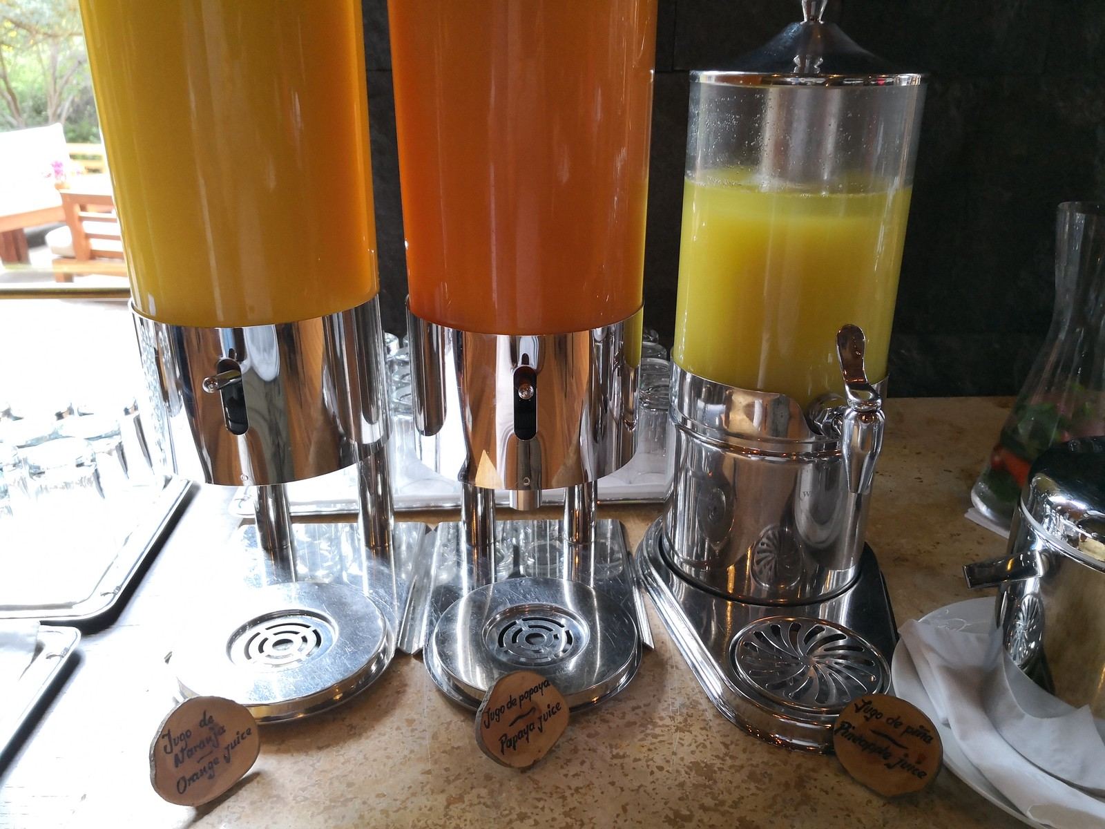 Juices in the buffet