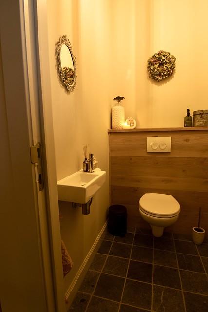 Houten achterwand toilet