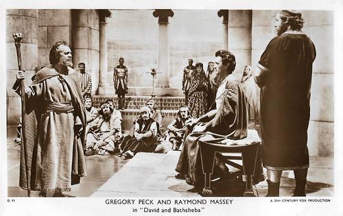 Gregory Peck and Raymond Massey in David and Bathsheba (1951)