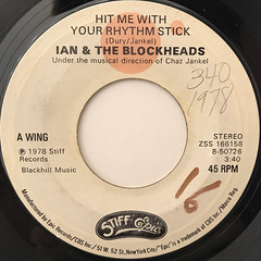 IAN & THE BLOCKHEADS:HIT ME WITH YOUR RHYTHM STICK(LABEL SIDE-A)