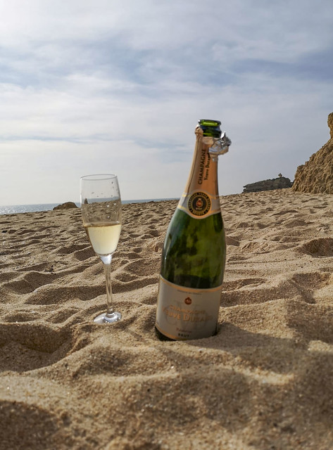 Champagne on Christmas day in the Algarve Portugal