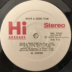 AL GREEN:HAVE A GOOD TIME(LABEL SIDE-B)