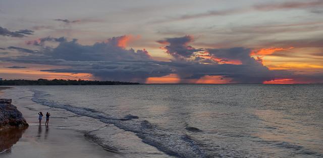 Triple header sunset storm over Darwin Harbour, NT, Australia