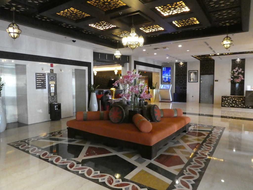 Elegant lobby at the Souq Waqif Boutique Hotel
