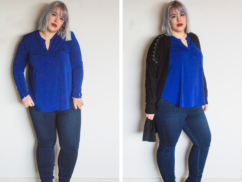 Outfit 2 met blauwe blouse
