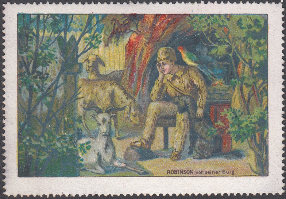 German poster stamp depicting Robinson Crusoe and his dog.