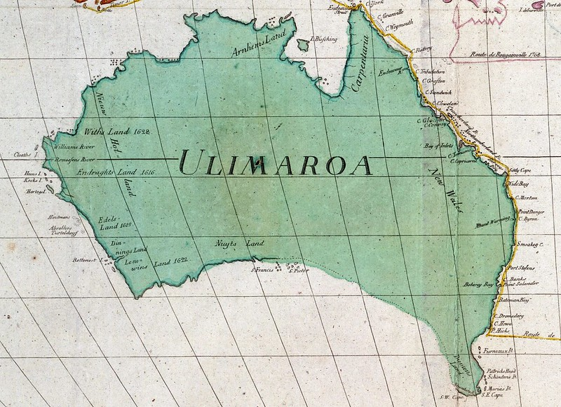 Map of Australia as Ulimaroa (1780)