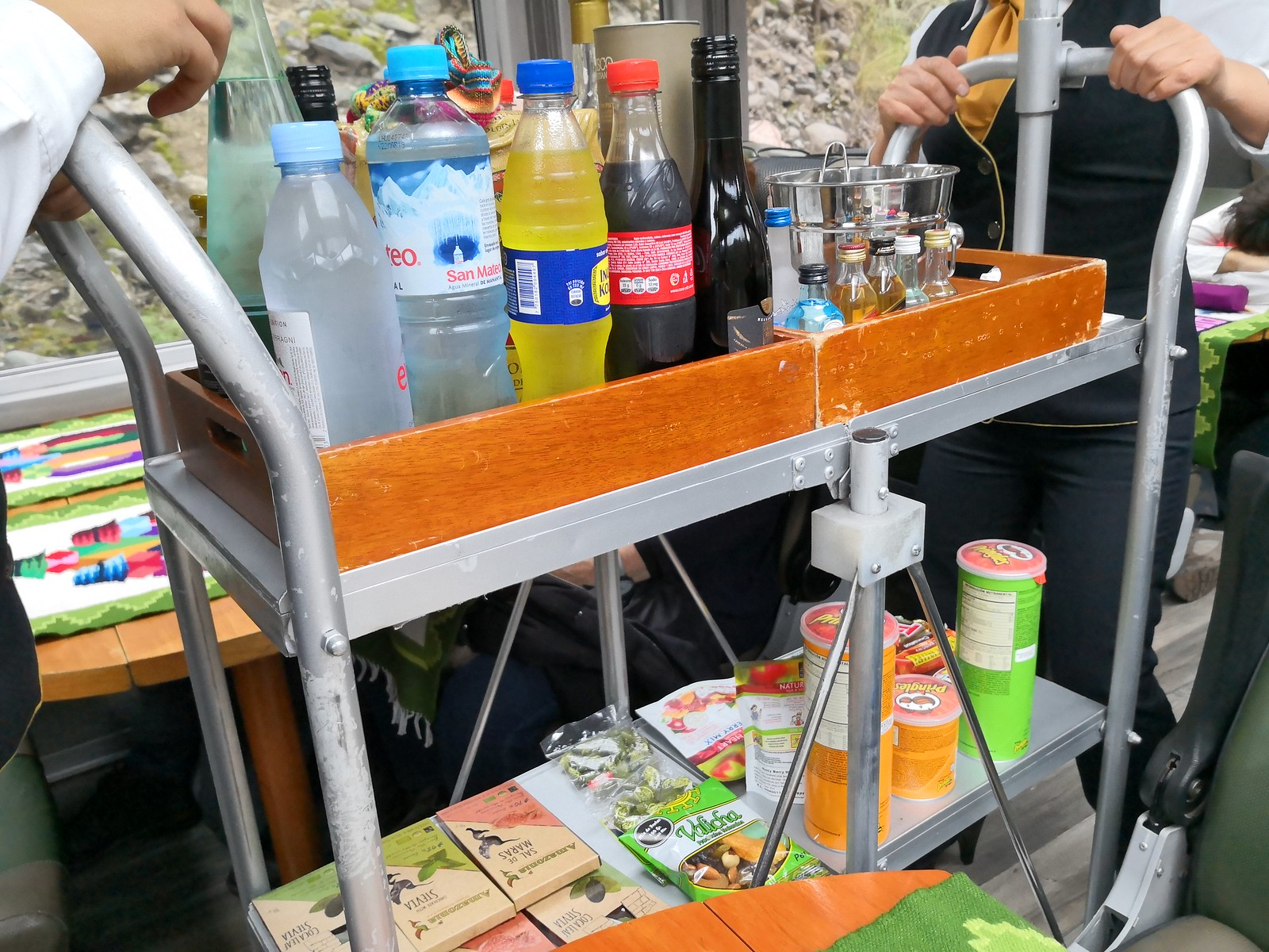 Drinks and snacks trolley
