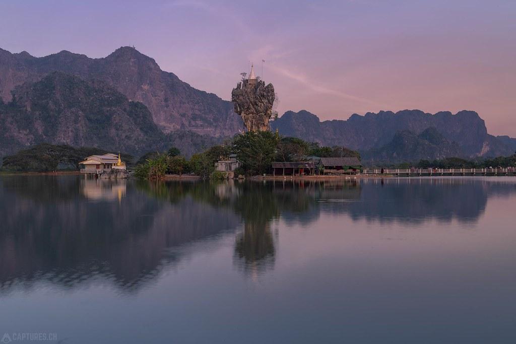 Evening mood at the lake - Kyaut Ka Latt Pagoda