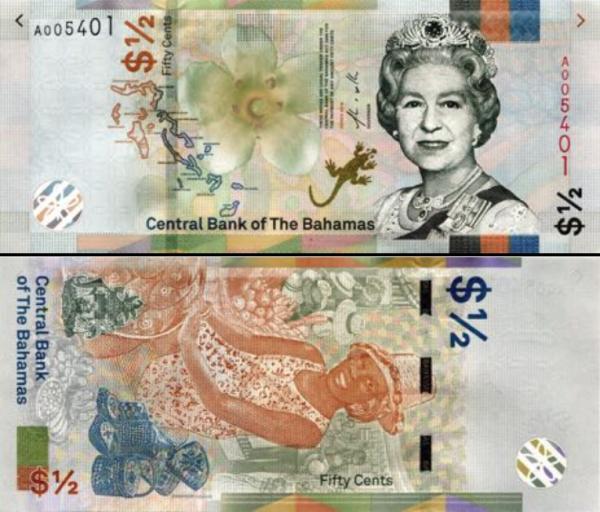 1/2 Dolár Bahamy 2019 P76A UNC, bankovka
