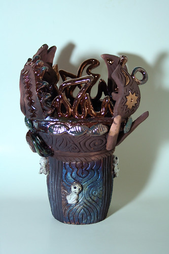 Dancing Flame Vase with Kodama _1366 2