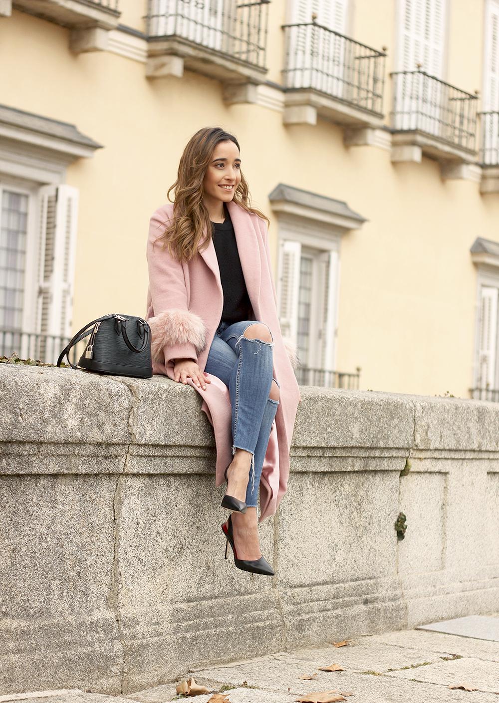 pink coat byleclair carolina herrera heels jeans louis vuitton ba street style outfit 20194