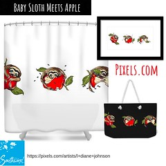 """New design at Pixels.com, by L. Diane Johnson """"Baby Sloth Meets Apple"""", on home decor, office, wall art of all kinds."""