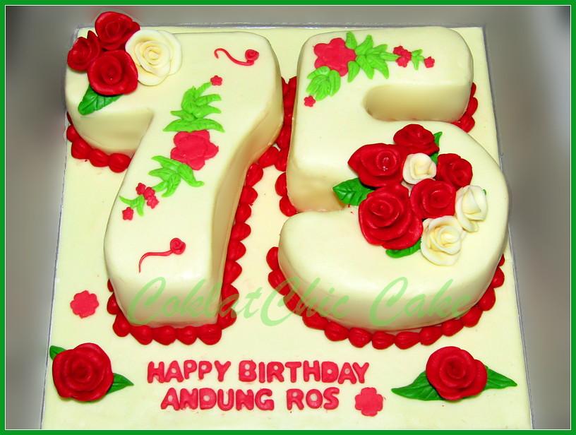 Cake Angka Bunga Mawar ANDUNG ROS 15x22 cm