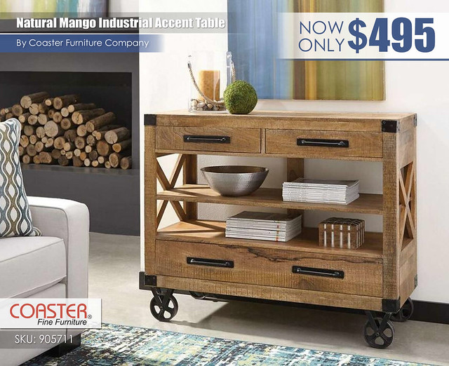 Natural Mango Industrial Accent Table_905711
