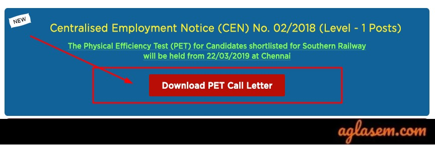 RRB Group D PET Admit Card 2019 available on the official website