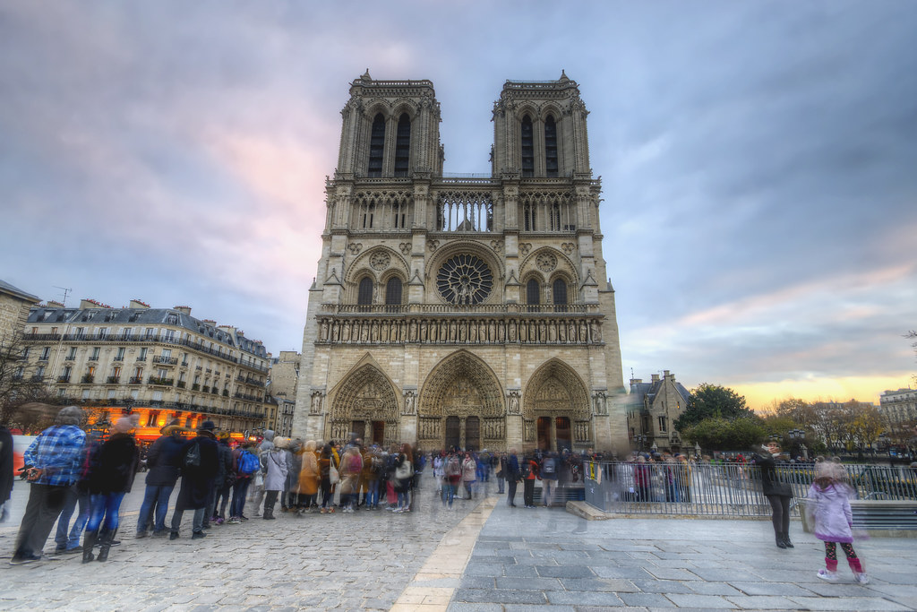 Crowds in Front of Notre Dame