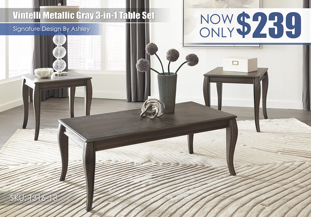 Vintelli Metallic Gray 3 in 1 Table Set_T316-13