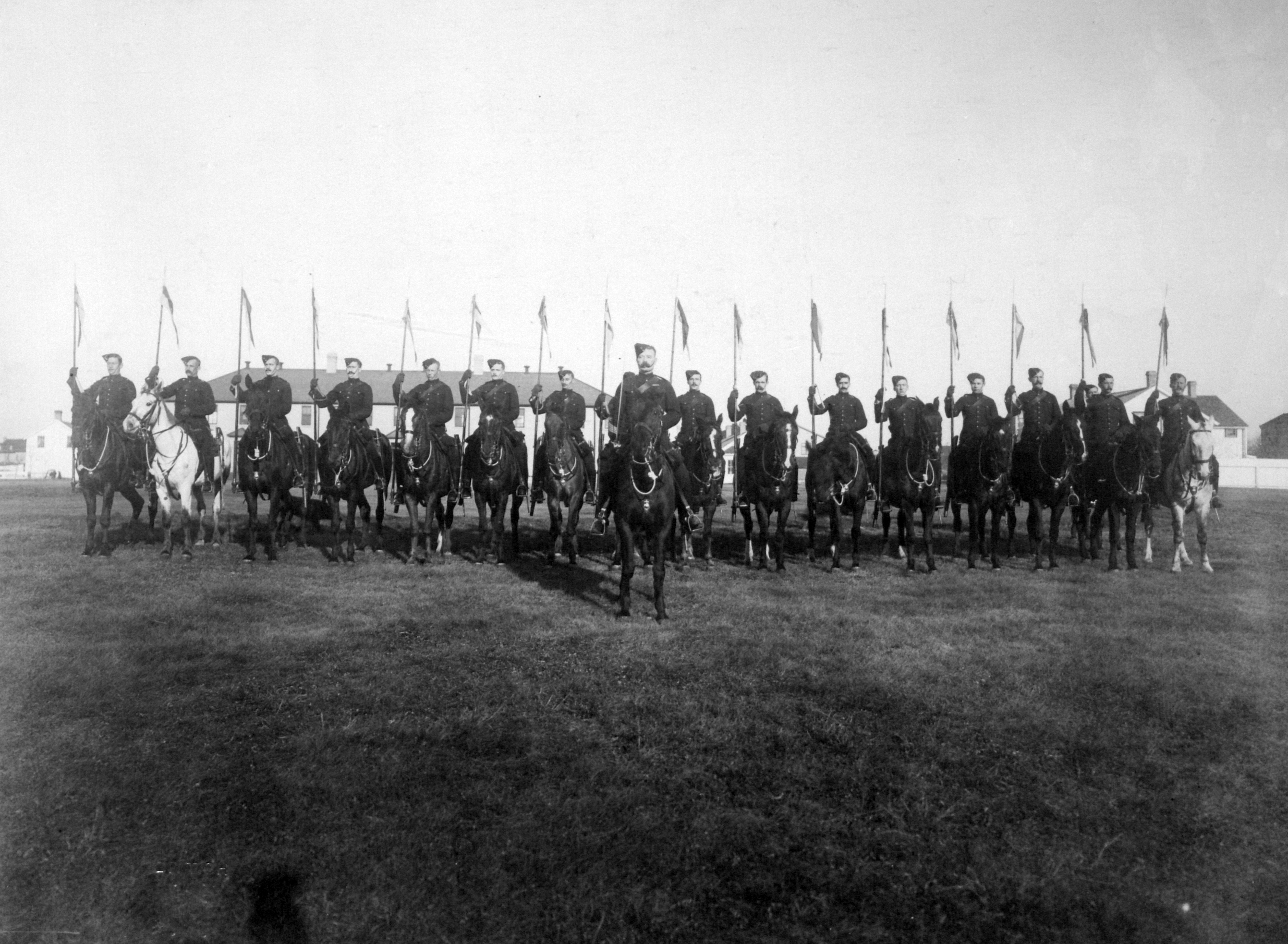 Troop front. Canadian Mounted Rifles with 2nd Contingent, South Africa during the Second Boar War, 1900.