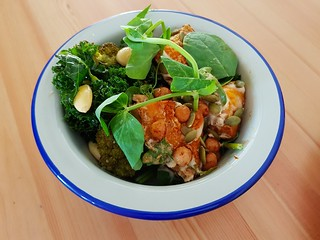 Roasted Pumpkin & Chickpea Salad, Broccoli and Kale Salad at Flora