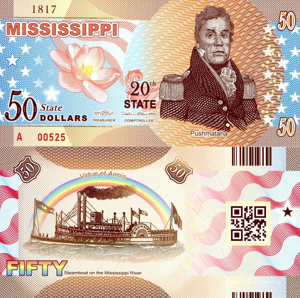 USA 50 Dollars 2015 20. štát - Mississippi polymer