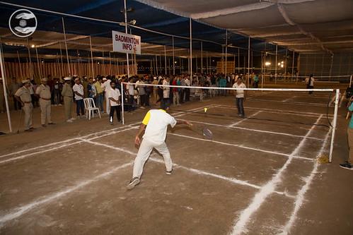 Devotees playing Badminton
