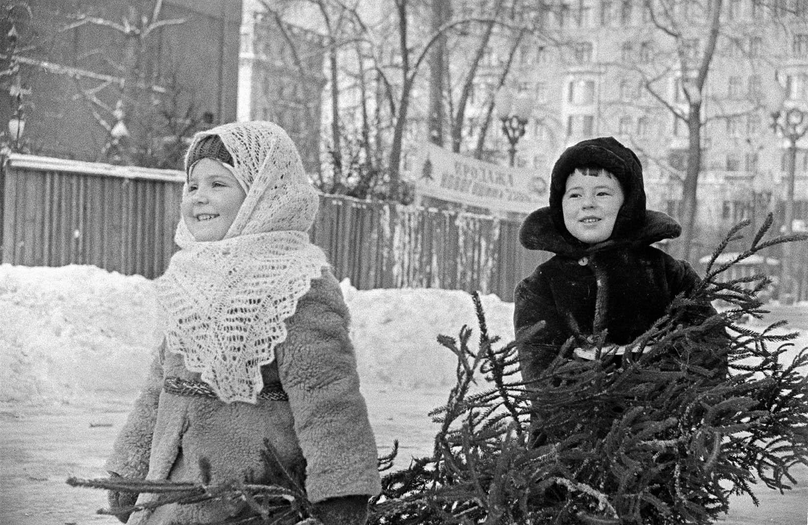 1967. Маленькие москвичи Алла Баскина и Никита Синицын несут домой ёлку. Автор В. Христофоров. 20 декабря