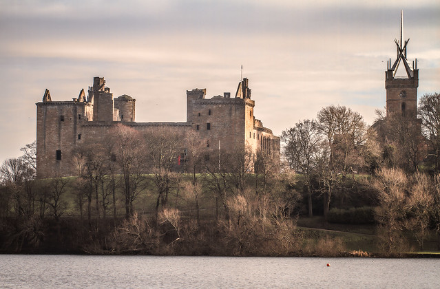winter morning long view of Linlithgow Palace and Church of St Micheal, Linlithgow, West Lothian, Scotland