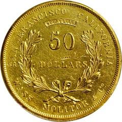1855 Wass, Molitor $50 gold reverse