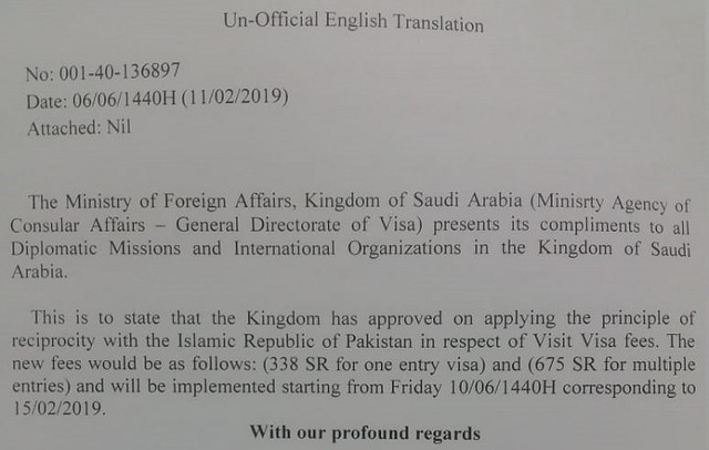 4973 Has the visit visa fee for Pakistanis reduced to SR 338