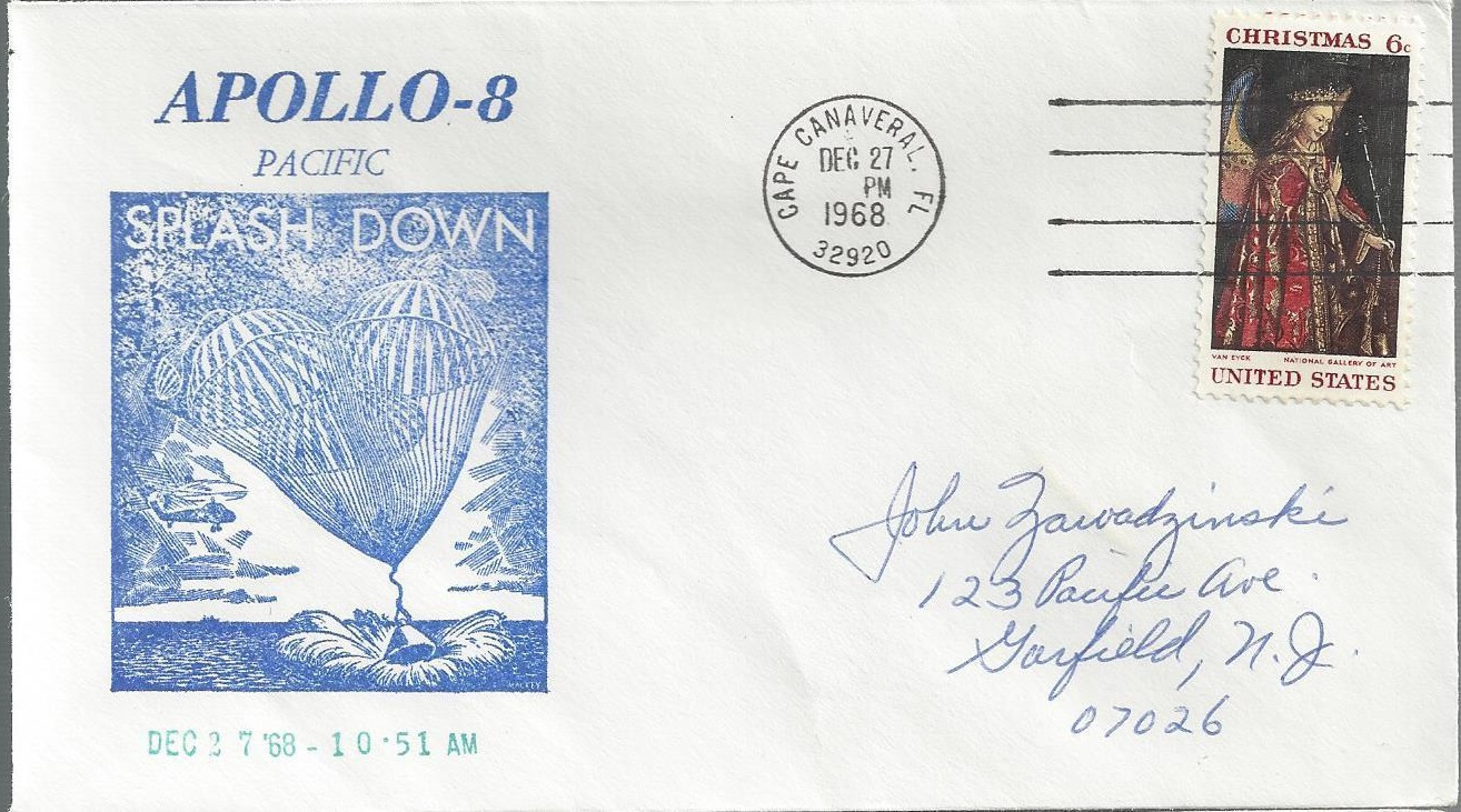 Cover marking Apollo 8's splashdown, mailed from Cape Canaveral, Florida, December 27, 1968
