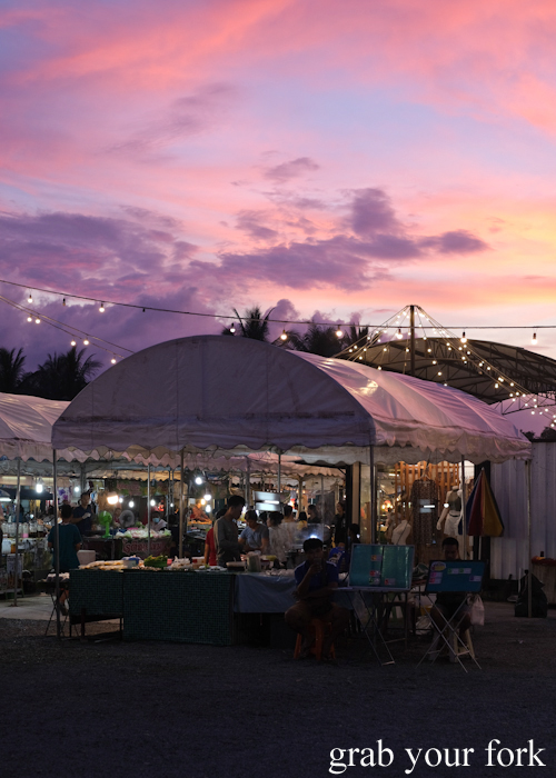 Dusty pink sunset at Build Market in Khao Lak, Thailand