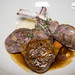 Grilled lamb chops, polenta, root vegetables, rosemary sauce