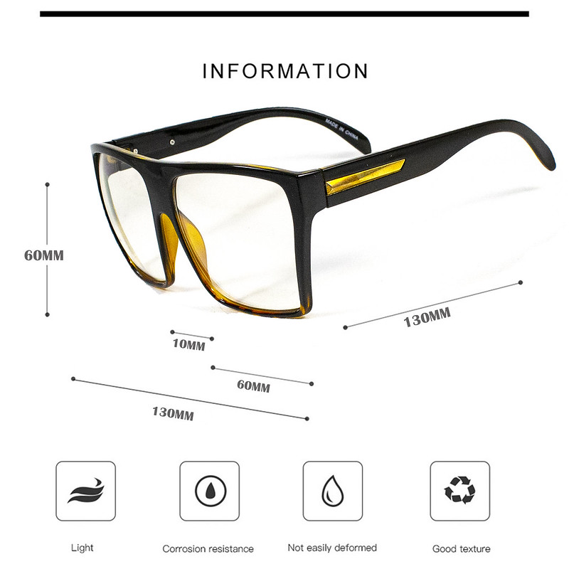 00bd555cea04 Womens Mens Oversized Rectangular Fashion Designer Clear Lens Glasses Unisex.  clear glasses ...