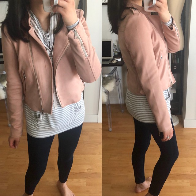 Banana Republic Vegan Suede Moto Jacket in blush pink, size XS regular