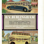 Thu, 2019-03-21 20:21 - What a colourful advert from 1950 for the Blackpool based coachbuilder H V Buringham. Formed in 1928/30 Burlingham gained a reputation for quality and although they produced for many operators they were often most associated with local operators Blackpool Corporation and Ribble Motor Services (down the road in Preston) for whom they constructed some very stylish and contemporary designs as can be seen in the lower image! The upper picture was again part of the post-war export drive for British industry and shows a coach supplied to the Cordoba - Rosario line of Buenos Aires in Argentina. Both vehicles are based on locally built Leyland Motors chassis, the coach on an export LOPS4/3 and the bus on a Titan PD2/3.  Burlingham became part of Duple Coachworks, of Hendon, North London, in 1960 and in time the Blackpool factory became the main site for the merged company. The business closed in 1989.