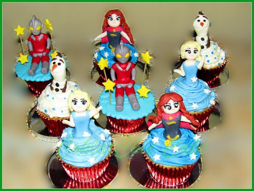 Cupcake Disney Frozen dan Ultraman