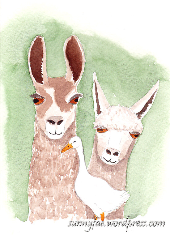 Llama llama duck watercolour birthday card