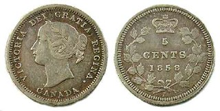 1858 Canadian five cent silver coin