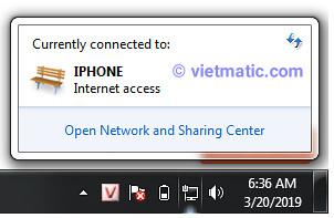 Điểm truy cập cá nhân iPhone trên máy tính khi cắm cáp USB vào