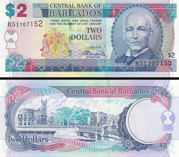 2 doláre Barbados 2007 P66