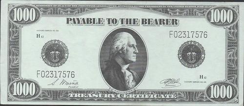 $1000 Uniface Philippine Treasury Certificate