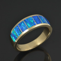 Man's Lab Created Opal Wedding Band