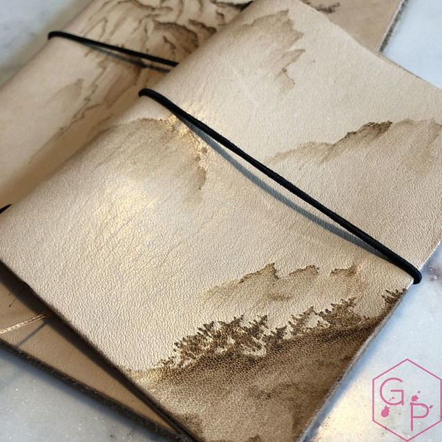 Toronto Pen Company Traveler's Notebook Leather Covers with Pyrography & Paintings 7