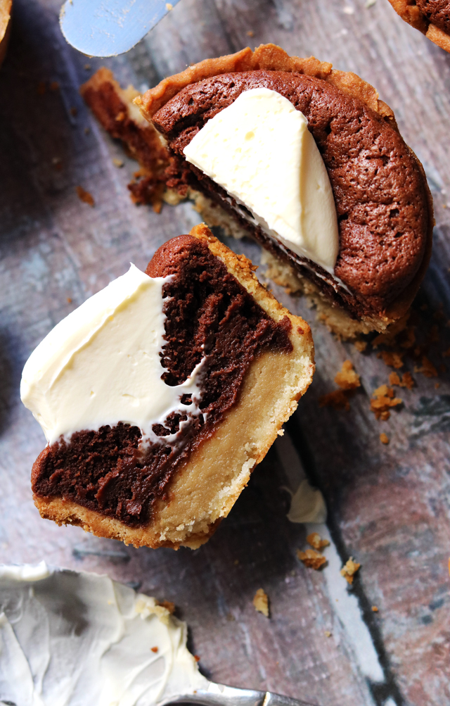 Little Tahini and Molten Chocolate Mousse Tarts with Mascarpone