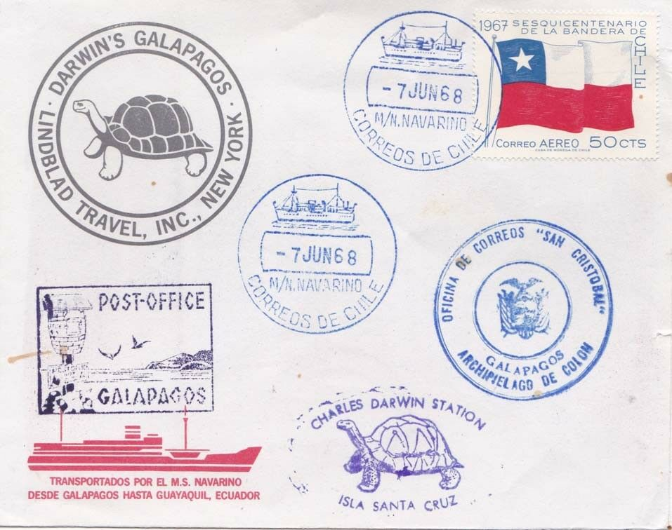 Cover from a June 1968 cruise by MS Navarino to the Galapagos Islands.