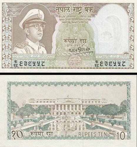 10 nepálskych rupií Nepál 1972, P18