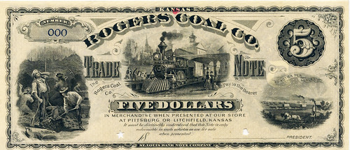 Rogers Coal Company $5 note obverse